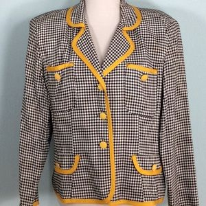 Black & White Gingham Blazer w/Yellow Trim/Buttons
